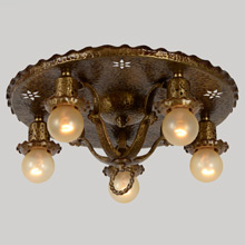 Ornate Historic Revival Pan Light w/ Cut Outs C1925
