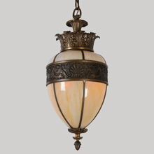 Large Cast Bronze & Art Glass Classical Revival Pendant, c1927