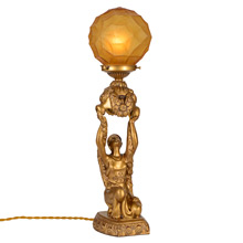 Antique Gilt Maiden Radio Lamp, C1930