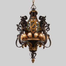 Tremendous Polychrome Wrought Iron 15-Lamp Historic Revival Chandelier, c1928