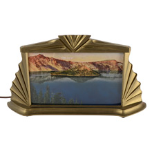 Radio Lamp with Hand Tinted Crater Lake Photo C1940s