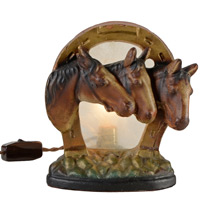 Chalkware Radio Lamp w/ Trio of Horses C1940s