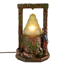 Boy at Wishing Well Radio Lamp C1931