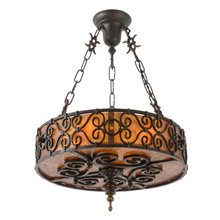 Spanish Revival Mica Drum Shade Chandelier C1928