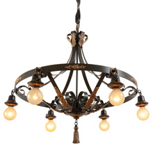 Remarkable Revival-Style Bare-Bulb Strap Chandelier C1925