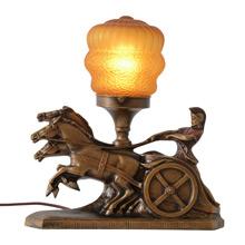 Gilt Charioteer Radio Lamp w/Amber Shade, c1930