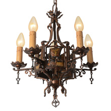 Stunning Romance Revival Chandelier with Viking Ship Motif C1925