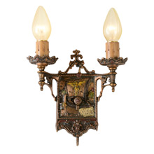 Pair of Romance Revival Sconces with Ship Motif C1925