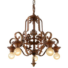 Classic Moe Bridges Chandelier W/Knights Motif, c1927