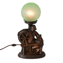 Cast Metal Spinning Wheel Radio Lamp C1930