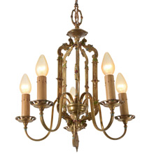 Impressive Gilt and Polychrome 5-Light Chandelier C1925