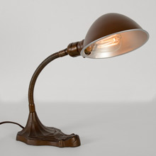Bronze Gilt Adjustable Cast Iron Desk Lamp, c1930