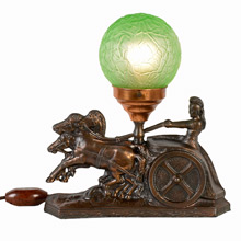 "Gilt Charioteer Radio Lamp w/Green ""Brain"" Shade, c1930"