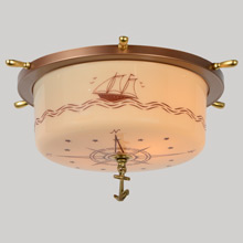 Anchors Aweigh! Large Nautical-Themed Flush Mount, c1938