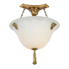 Outstanding Beaux Arts Cast Glass Bowl Chandelier, C1910