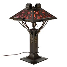 Mission Rolled Metal Stained Glass Table Lamp C1915