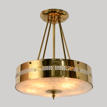 Mid-Century Modern/Traditional Polished Brass Drum Chandelier, c1954