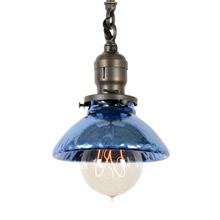 Industrial Pendant with Mercury Glass Shade, c1905