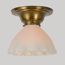 Petite Flush-mount fixture W/Opalescent Prismatic Shade, C1905
