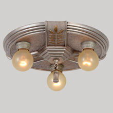 "Sleekly Moderne ""De Luxe"" 3-Light Flush Pan Fixture, C1937"