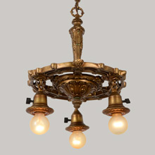 Richly Cast Antique Gilt Polychrome Revival Chandelier, c1928