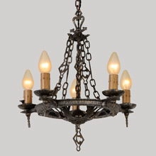 "Sears Hi-Glo Romance Revival ""Valley Forge"" 5-Light Chandelier, c1934"