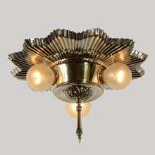 Art Deco Flush 3-Light Pan In Antique Gilt, c1935