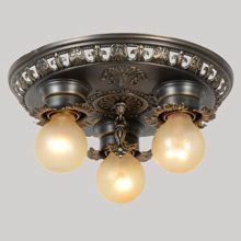 Ornate Stamped Brass Flush Pan Fixture, C1925