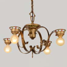 Simple Yet Striking Wrought Iron Historic Revival 4-Light Chandelier, c1925