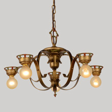 Simple Yet Striking Wrought Iron Historic Revival 5-Light Chandelier, c1925