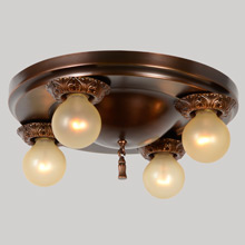 Simple 4-Light Flush Pan Fixture c1920