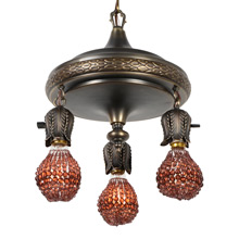 Unusual 3-Light Bay Leaf Pan Fixture w/Beaded Bulb Covers, c1916