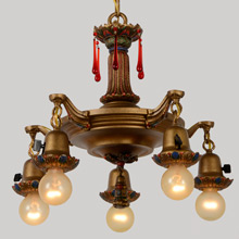 Polychrome 5-Light Revival Pan Chandelier w/Crystal Drops, c1922