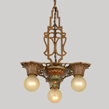 Ornate Polychrome Revival-Style 3-Light Chandelier, c1929