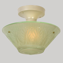 Ivory Fixture Base w/Green Bead-Chain Shade, c1940
