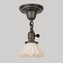 Semi-Flush Fixture W/Darling  Fluted Opal Cone Shade, C1915