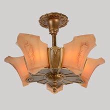 5-Light Sun Tan Series Heraldic Fixture, C1935