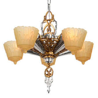 Art Deco Chrome and Gilt Chandelier, c1930