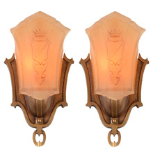 Pair of Sun Tan Series Heraldic Sconces, C1935
