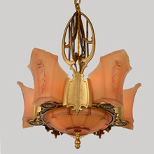 7-Light Sun Tan Series Heraldic Chandelier, C1935