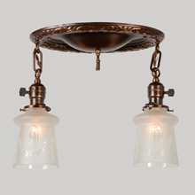 2-Light Bay Leaf Flush Pan Fixture w/Beautiful Etched Shades, c1920