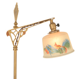 Inspiring Art Deco Floor Lamp W/ Hand-Painted Shade C1928