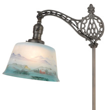 Ornate Bridge Floor Lamp w/ Reverse Painted Shade C1920s