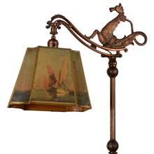 Majestic Sea Serpent Bridge Floor Lamp C1920s