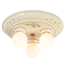 Charming 3-Light Porcelain Flush Mount w/Flowers, c1940