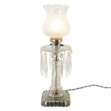 Traditional Glass and Crystal Table Lamp w/ Shade C1930s