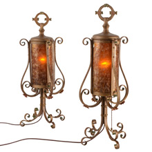 Pair of Historic Revival Strap Work Lamps C1920s