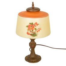 Cast Floral Table Lamp W/Hand-Painted Glass Shade C1925