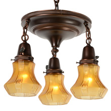 Colonial Revival 3-Light Drop Pan Fixture w/Amber Shades, c1920