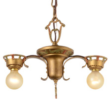 Simple Yet Striking Wrought Iron Historic Revival 2-Light Pendant, c1925